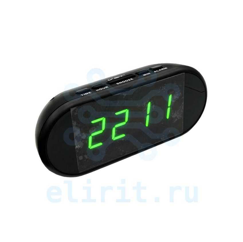 Часы с led дисплеем  VST 712-4 ЗЕЛЕНЫЕ ЯРКИЕ ЦИФРЫ