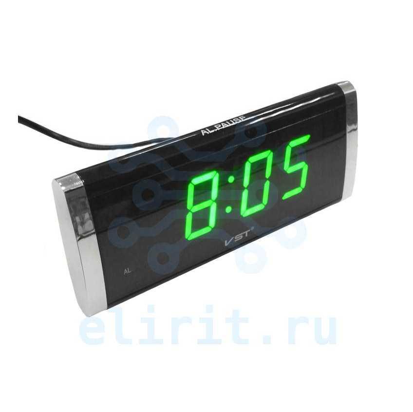 Часы с led дисплеем  VST 730-4  ЗЕЛЕНЫЕ ЦИФРЫ ЯРКИЕ