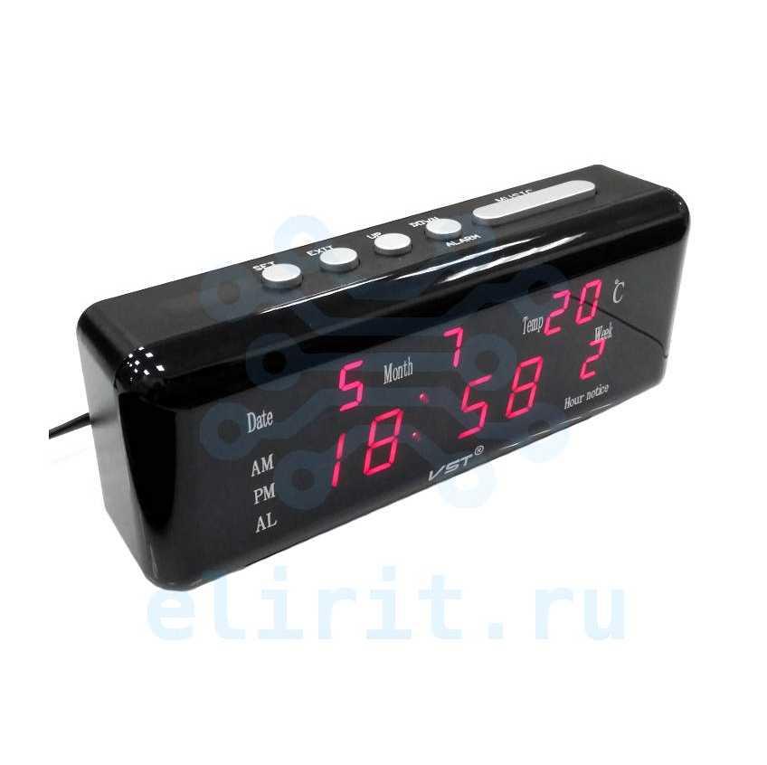 Часы сетевые СВЕТОДИОДНЫЕ VST 762WX-1 КРАСНЫЕ ДАТА ТЕМПЕРАТУРА