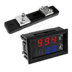 Измерительный прибор  ЦИФРОВОЙ ПРИБОР + ШУНТ 0-100V 0- 50A СИНИЕ СИМВОЛЫ